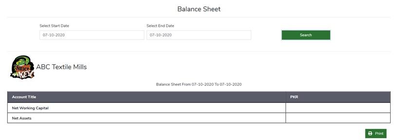 Balance Sheet - Finance Module - ERP Module – Trading ERP - Enterprise Resource Planning System