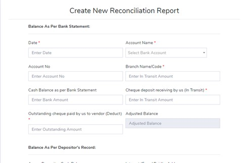 Create New Reconciliation Report - Management Reporting - ERP Module – Trading ERP - Enterprise Resource Planning System