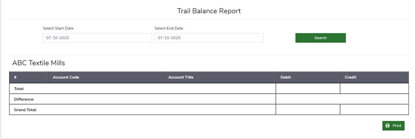 Trial Balance Report - Finance Module - ERP Module – Trading ERP - Enterprise Resource Planning System